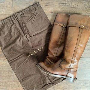 Gucci Eleonara Leather Riding Boot, Dark Brown